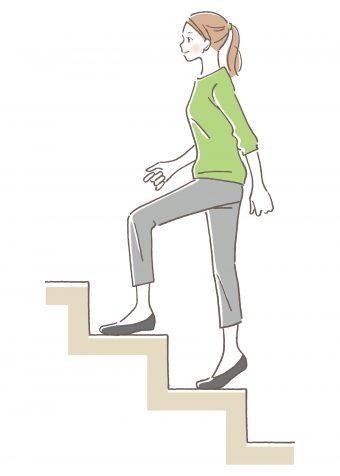 階段を使うようにする