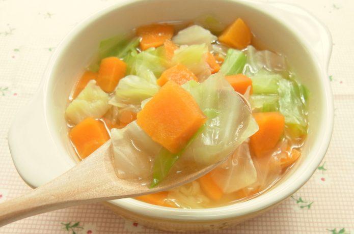 温かい汁もの・スープを食べて内臓を温める