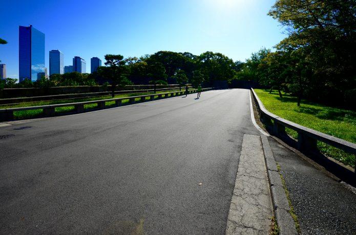 大阪城のランニングコースの平坦部分
