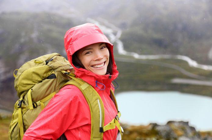 雨 ウォーキング 女性 レインコート バッグパック