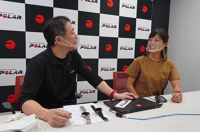 「Polar Vantage V2」について話す宮崎喜美乃選手