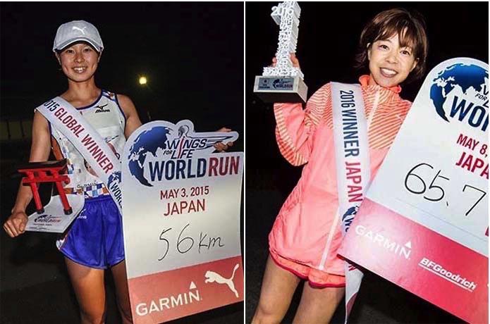 Wings for Life World Runで優勝した日本人の2人