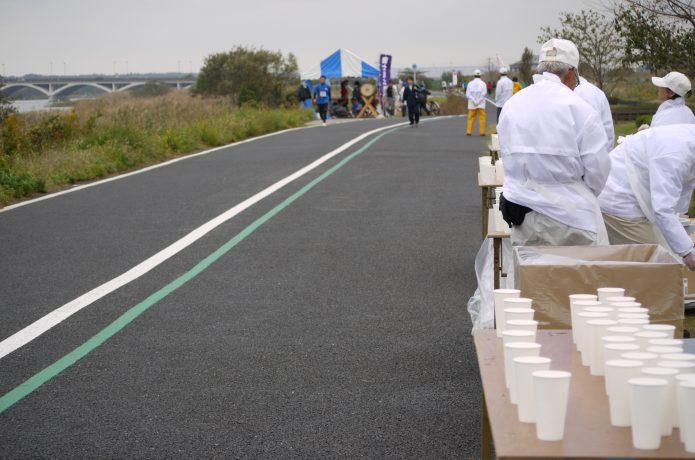 マラソン大会の給水地点