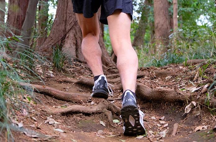 ザ・ノース・フェイス「フライトベクティブ 」を履いて登りを走る人